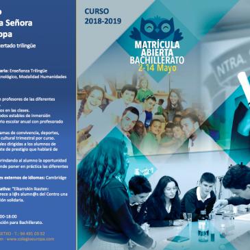MATRÍCULA BACHILLERATO ABIERTO 2-14 MAYO